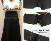 "Waist belt, 4"" Black elastic belt, plus size belt, Elastic Wrap Up Belt, Wide Stretch Belt with hook and eye closure"