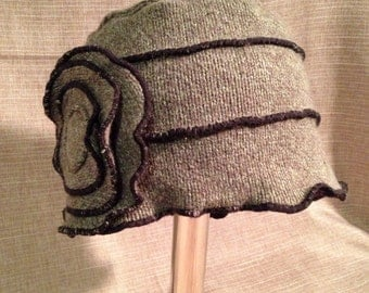 Olive green hat made from recycled sweater