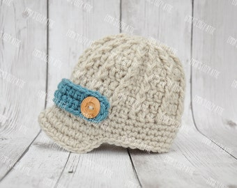 Crochet baby newsboy hat, baby boy hat, newborn photo prop, baby boy clothes, newsboy hat, coming home outfit, brim hat, newborn boy, blue