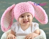 Pink Baby Girl Easter Bunny Rabbit Hat