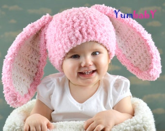 Pink Baby Girl Easter Bunny Rabbit Hat