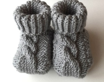Dasch Baby Booties - Cable Knit Baby Booties - Choose your own color - Hand Knit
