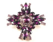 Rhinestone Brooch Pendant Convertible Purple Maltese Cross Design Tres Chic Design Style Versatile Wear