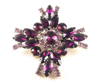 Rhinestone Brooch Pendant Convertible Purple Maltese Cross Design Tres Chic Design Style Versatile Wear
