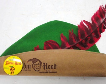 Vintage Richard Greene Robin Hood Child's Toy Hat with Original Feather and Yellow Metal Pin