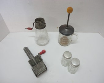 Lot of Vintage Kitchen Utensils - Mouli Metal Cheese Grater, Glass Nut Chopper, Glass Cup Measure Chopper,  Anchor Hocking  S & P Shakers