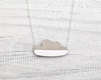 Gray cloud necklace, Wooden Gray cloud Pendant, Cute Kids Necklace, Laser cut Jewelry, Gray and White Necklace Childrens Gift