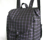 Large backpack- Black purple gray plaid cotton