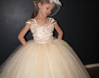 Vintage embroidered lace flower girl dress,champagne tulle flower girl dress, lace flower girl dress, corset ribbon back flower girl dress