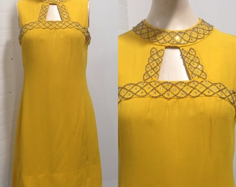 Yellow 60s Mod Dress with Silver Embellishment