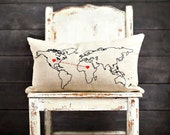 """World Map, Hearts Stitched Together...Personalized Pillow Cover, 12x20"""", Screenprint and hand stitching on Natural Linen"""