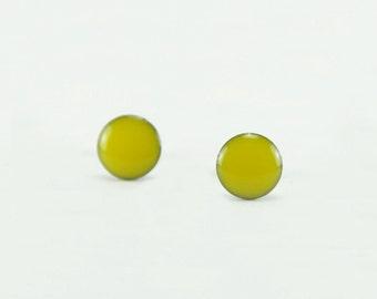 LEMON YELLOW Stud Earrings - Lemon Yellow Earrings - Yellow Ear Studs - Yellow Earring Studs - Surgical Steel Post Earring - 4mm / 6mm / 8mm