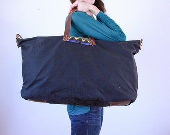 Waxed Canvas Weekend Getaway Bag Black Patch