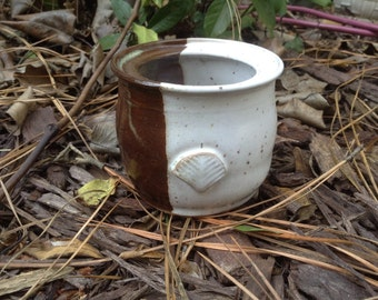 Trinket holder, brown and white, ceramic pottery, pottery seconds, small cup, paperclip holder, tiny vase, hand thrown