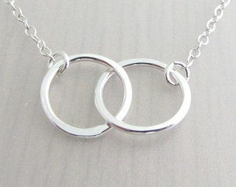 Sterling Silver Linked Circle Necklace, Double Ring Necklace, Infinity Circle Necklace, Mother Daughter Necklace, Best Friend Necklace