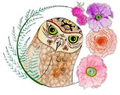 Owl and Flowers - 8 x 10 Fine Art Giclee Print - Fern - Poppies - Tribal - Nature - Ink - Rose - Feathers- Whimsical - Children- Mothers Day