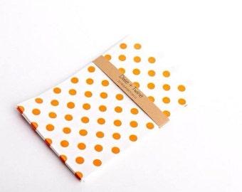 20 Orange Polka Dot Bitty Bags 5 x 7.5/ paper bags/ party bags/ treat bags/ orange bags/ polkadot bags