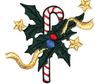 ID #8188A Festive Holly Candy Cane Christmas Embroidered Iron On Applique Patch