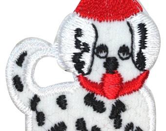 ID #8214A Fuzzy Dalmation Puppy Santa Dog Christmas Pet Iron On Applique Patch
