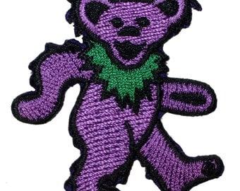 Grateful Dead Smaller Purple Dancing Bear Rock Band Icon Iron On Applique Patch