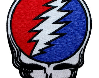 Grateful Dead Die-Cut Steal Your Face Skull Band Logo Iron On Applique Patch