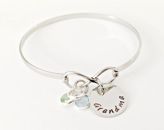 Personalized Infinity Bangle Bracelet with Hand Stamped Grandma, Mother, Nana, Sister, Aunt, Friendship Name Disc with Swarovski Birthstones