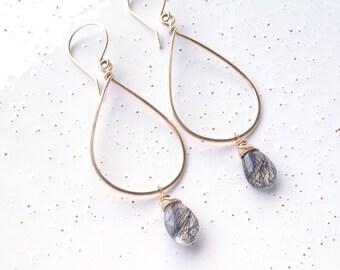 14k Gold Filled & Black Rutilated Quartz Teardrop Earrings
