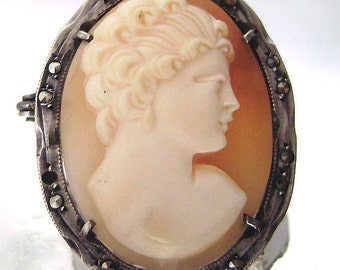Victorian 800 Silver Marcasite Cameo Brooch Pendant Vintage Italian Hand Carved Shell Cameo 1900s