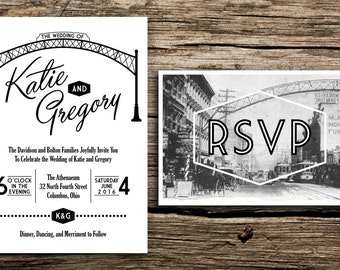 Arch City Wedding Invitation and Postcard RSVP // Columbus Ohio Wedding Invitation Short North German Village Downtown OSU Postcard Arches