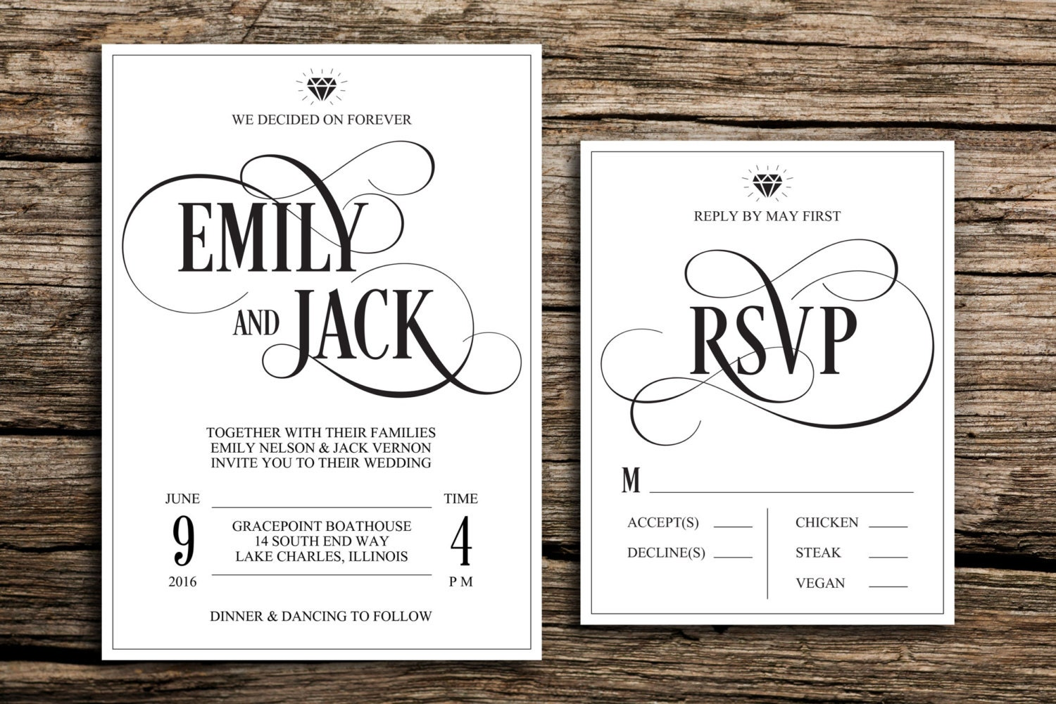 we decided on forever wedding invitation and rsvp // modern, Wedding invitations