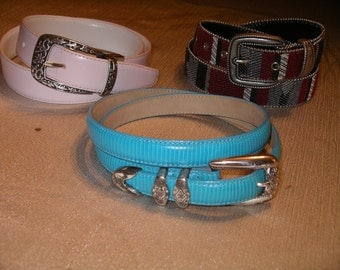 Three vintage ladies leather belts