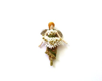 Miniature Queen Anne's Lace Fairy - pin, pendant, or worry doll