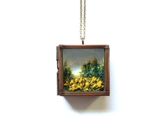 Miniature Landscape Pendant No. 5: Goldenrod in Late Summer - 1.5x1.5 Fine Art Shadowbox Pendant