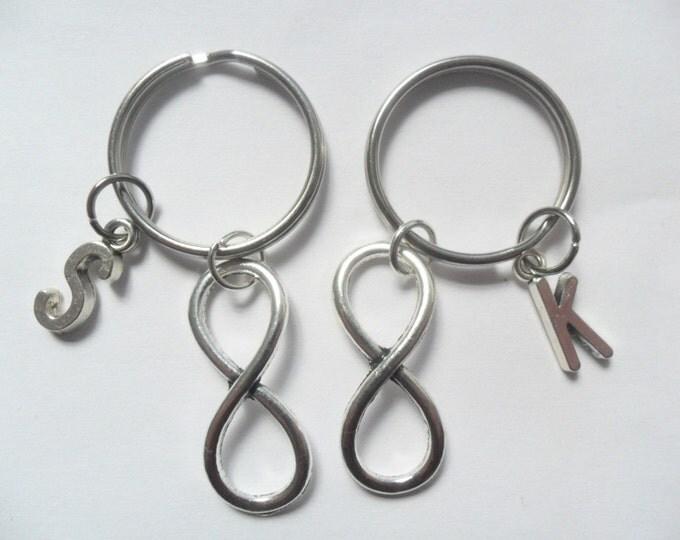 Best Friend Keychains 2 Infinity Symbol initial keychains best friends keychains (pick your own letters)