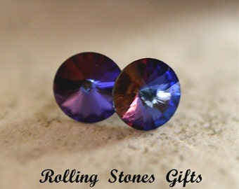8.4mm Bermuda Blue, Swarovski Rivoli, Rhinestone Stud, Earrings, Bermuda Blue Crystal, Color Changing Studs, Rhinestone Stud, Rivoli Studs