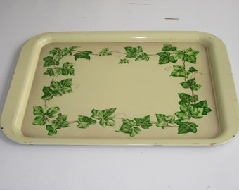 Vintage Yellow Metal with IVY Serving Tray