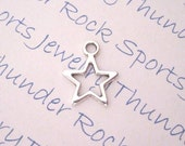 12 Antique Silver Open Star Charms Pendants