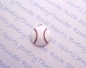 Antique Silver Plated Baseball White Enamel Ball Charms Sports Pendants
