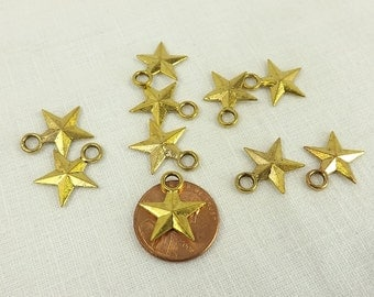 Rustic Star Charms 10 pieces 15mm Stars Two sided Gold Plate 5 point star Jewelry Supply Celestial Charm