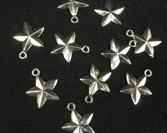 Star Charms 10 pieces 15mm Rustic Stars Two sided Silver Plate 5 point starJewelry supply celestial charm
