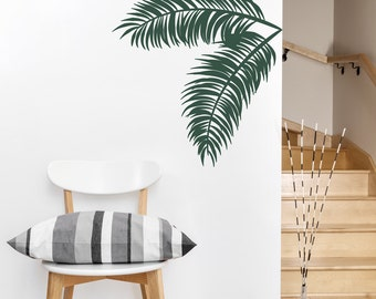 Palm Leaves Wall Decal -Tropical Wall Art, Palm Tree Decal, Hawaiian Decal, Palm Tree Wall Art, Nature Wall Decal, Palm Leaf Art, Leaf Decal