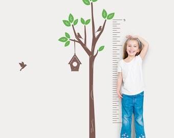Tree Growth Chart Wall Decal -Tree Wall Sticker, Nature Wall Decal, Living Room Art, Nursery Tree Sticker, Growth Chart Decal, Growing Chart