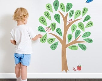 Alphabet Pattern Tree Printed Wall Decal - Nursery Tree Sticker, Nature Wall Decal, Tree Wall Sticker, Alphabet Tree, Preschool Decal