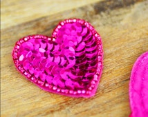 Fuchsia Sequin Heart Applique, Hot Pink Applique (1 piece) - Head Piece, Apparel, Valentines Day, Love, Dance, Skating, Baby Girl Headband