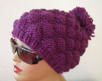 knit beret hat  accessories pom pom  hat beanie chunky knit beanie  slouchy beret gift for her