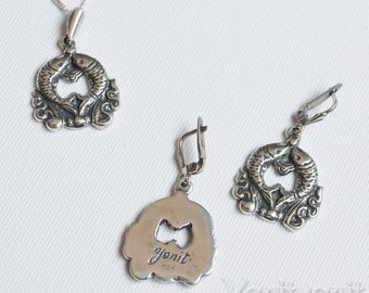 Fishes In Love Set, 925 Sterling Silver Set, Earrings and Pendant, OCEAN, Sea