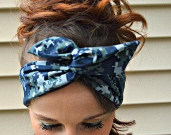 US Navy Camo Dolly bow headband, digital Camo Patriotic Dolly bow, hair bow, A1