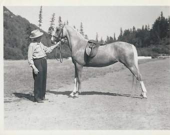 Palomino in Park - Vintage 1940s Man with Saddlebred Show Horse Photograph