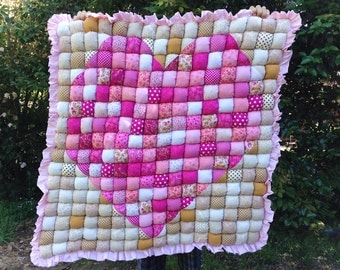 Baby Bubble Quilt Big Heart  Tummytime Play Mat - Made to Order