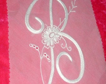 """No. 200 French Design of Couture Hand Embroidered MONOGRAM  """"B"""""""